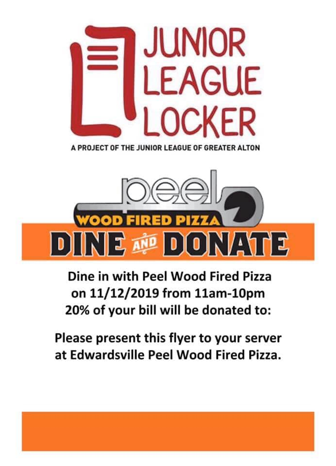 Dine and Donate at Peel in Edwardsville to support Junior League Locker on 11/12
